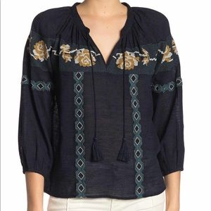 Lucky Brand Cross Stitch Embroidered Peasant Top